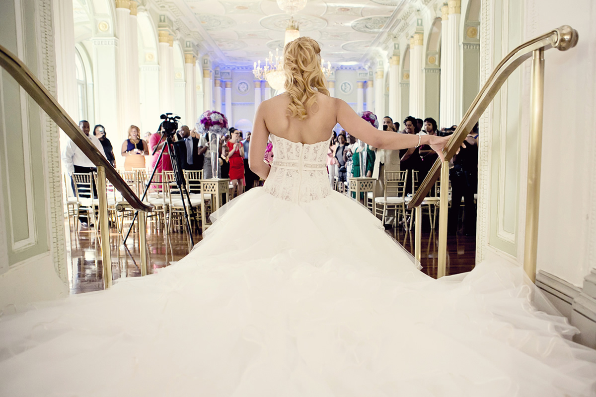 A bride makes an entrance at The Biltmore Ballrooms.