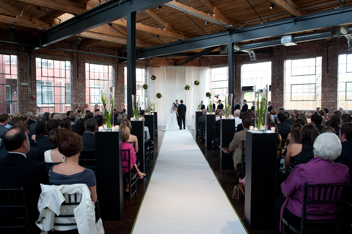 A wedding ceremony at Puritan Mill
