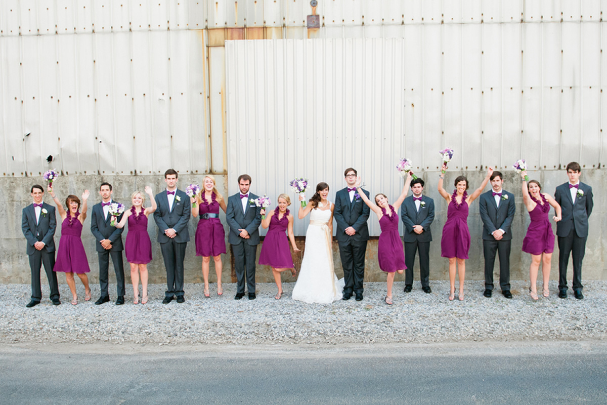 Wedding party at The Foundry at Puritan Mill.